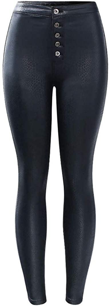 High Waist Black Snake Skin Pattern PU Jeans Woman Stretch Skinny Denim Jean Pants Trousers Jeans for Women