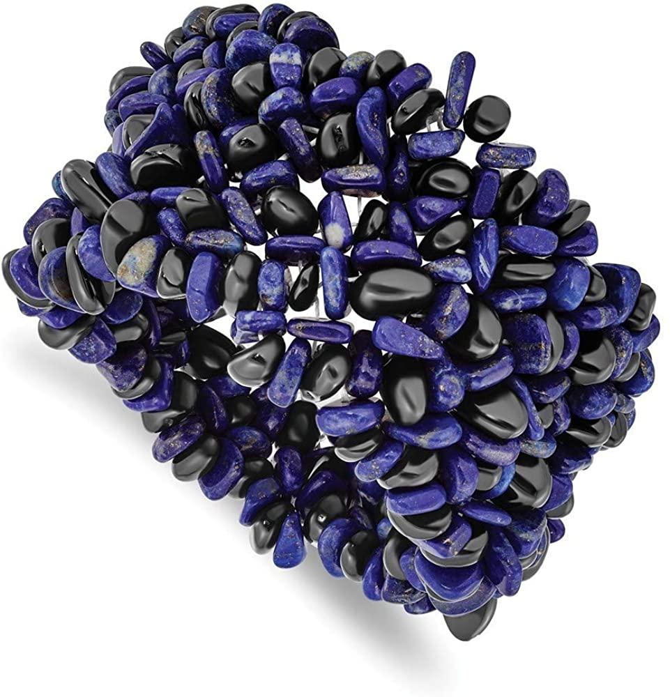 Lapis Lazuli and Black Tourmaline Wide Stretch Bracelet Jewelry Gifts for Women