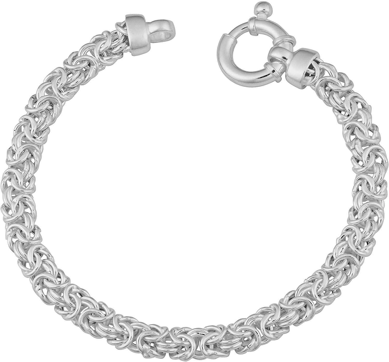 Kooljewelry Sterling Silver 6.5 mm Byzantine Link Bracelet (8.5 inch)