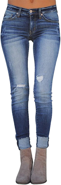 2020 New Women's Casual High Waist Ripped Boyfriend Jeans Long Relaxed Fit Denim Pants