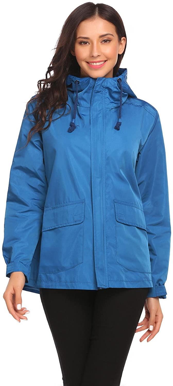 Vansop Blue Women Outwear Long Sleeve Hooded Windbreak Waterproof Solid Casual Jacket
