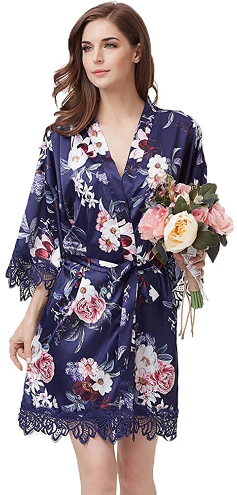 DF-deals Women's Floral Satin Kimono Wedding Robe for Bride and Bridesmaid with Lace Trim