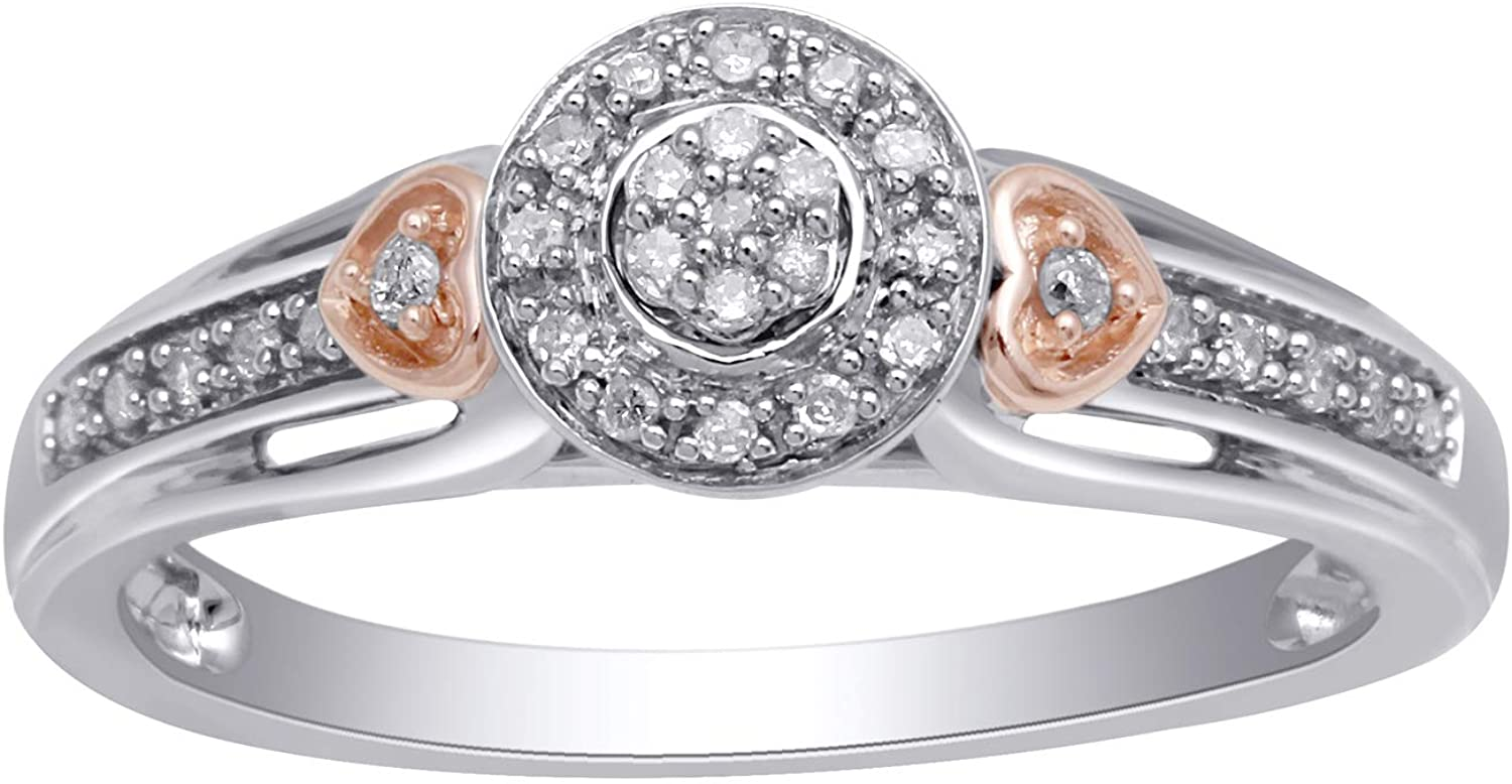 Jewelili 18kt Rose Gold Plated Sterling Silver 1/10cttw Natural White Diamond Ring