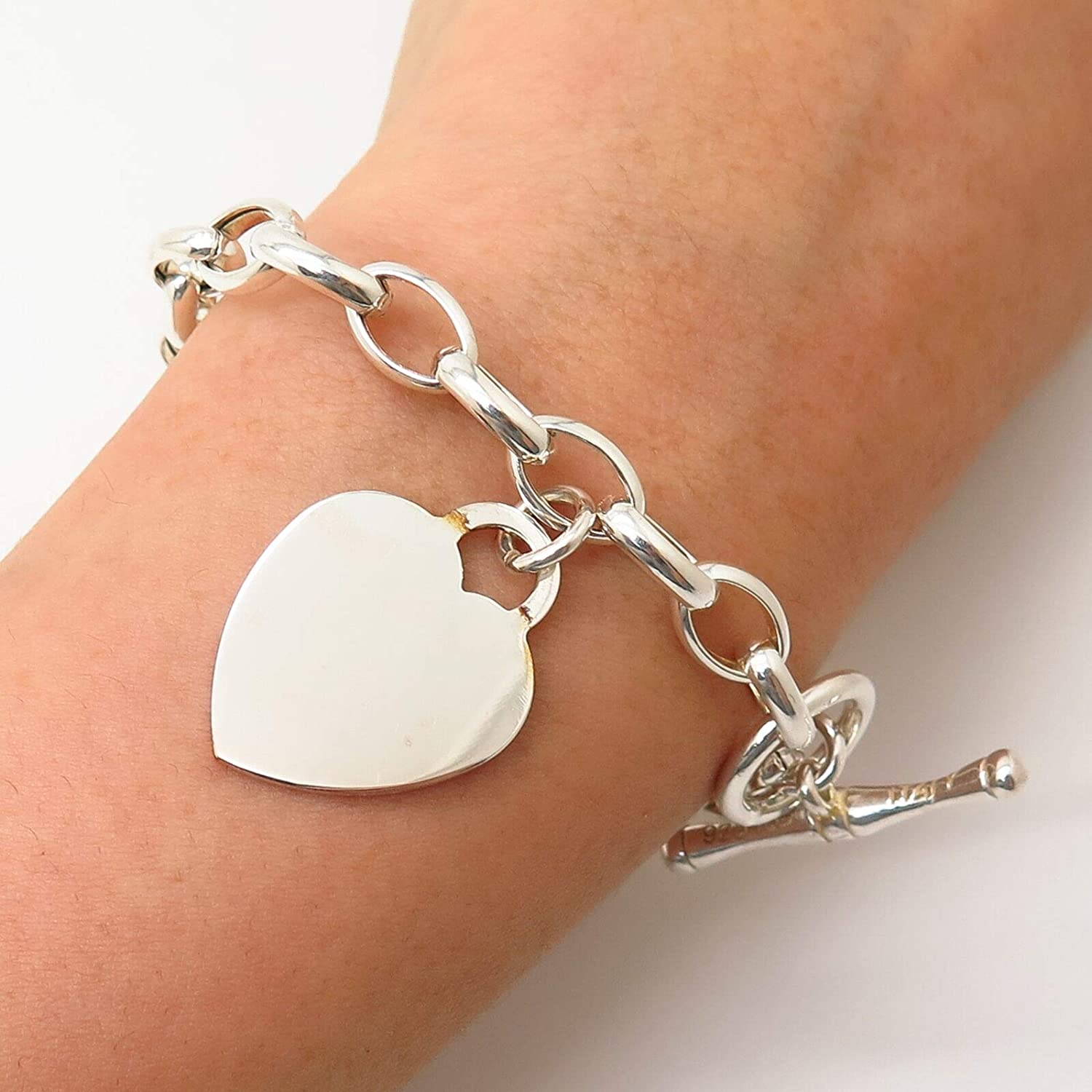 925 Sterling Silver Italy IBB Heart Tag Charm Cable Link Bracelet 6 3/4