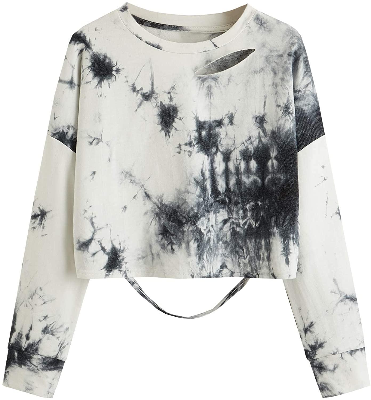 SweatyRocks Womens Long Sleeve Crop Tops Distressed Ripped Cut Out Pullover Sweatshirt