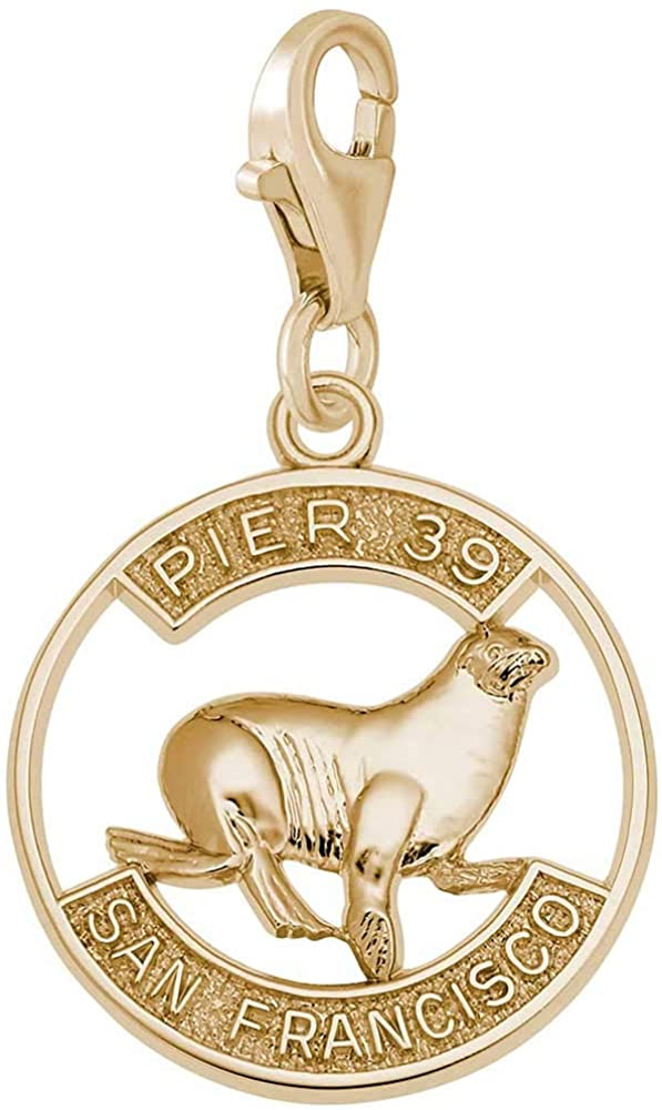 Rembrandt Pier 39 Sea Lion Disc Charm with Lobster Clasp, 10K Yellow Gold
