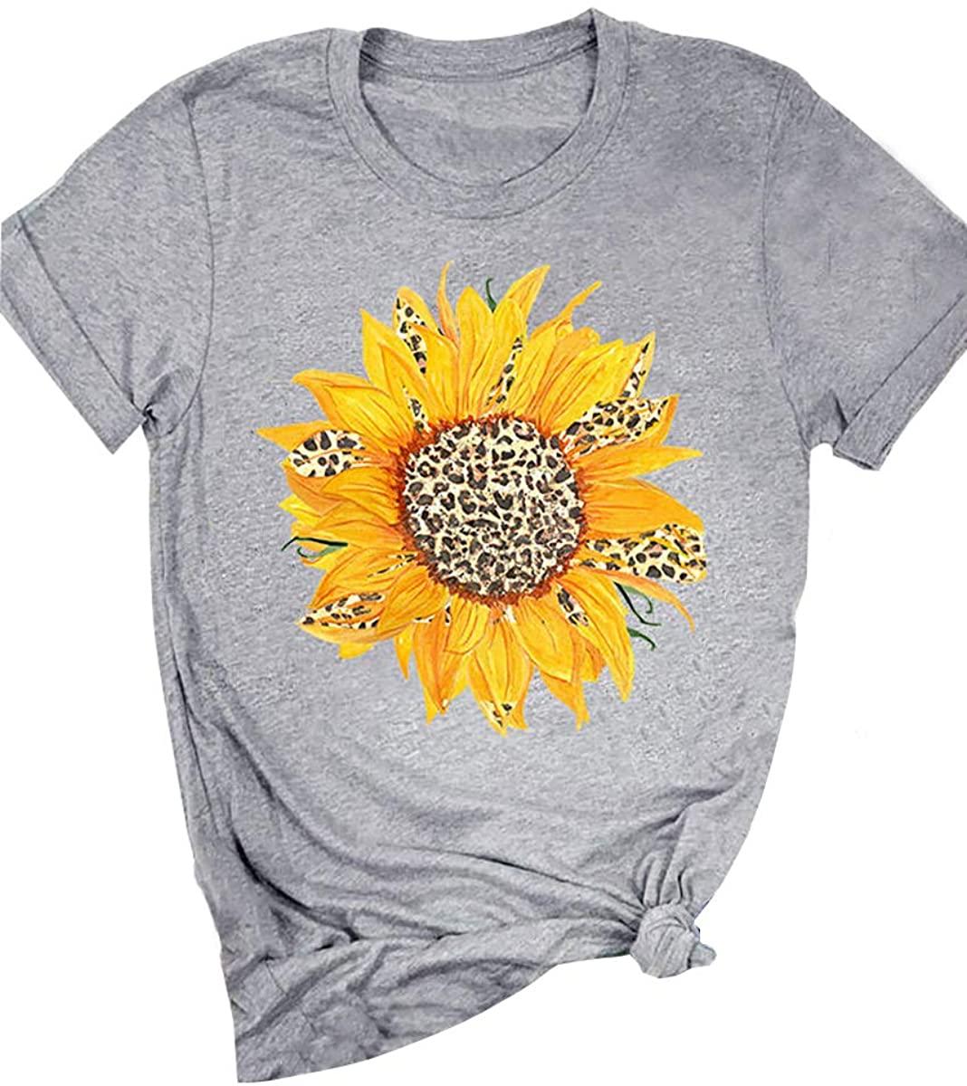 Women Tops Sunflower Sun Leopard Print Cute Graphic Girls Shirt Summer Short Sleeve