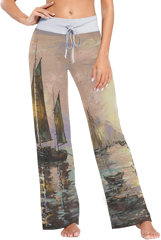 Womens Pajama Lounge Pants Sailing Ships Ocean Wide Leg Casual Palazzo Pj Sleep Pants Laides