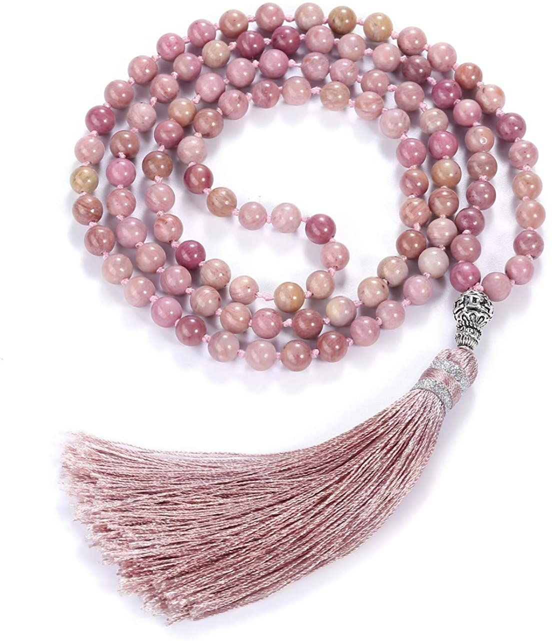 Top Plaza Womens 108 Mala Prayer Beads Wrap Necklace with Long Tassel Healing Crystal Stone Necklaces Yoga Meditation Reiki Quartz Jewelry