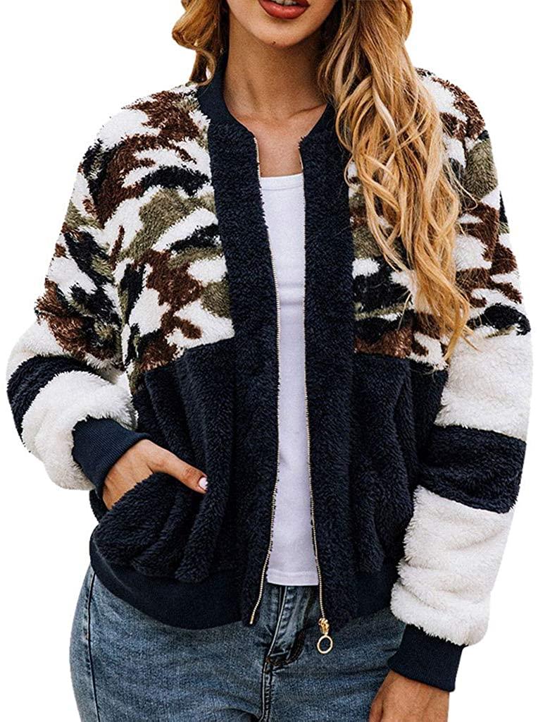 Sannysis Fashion Women Patchwork Camouflage Zip Pocket Blouse Long Sleeve O-Neck Coat
