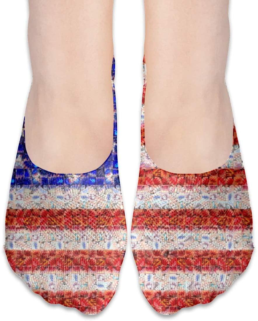 FriendEver No Show Socks,American Flag Mosaic Art Casual Invisible Flat Socks,Breathable Anti-Odor Low Cut Women Cotton Sox,Non Slip Liner Sock