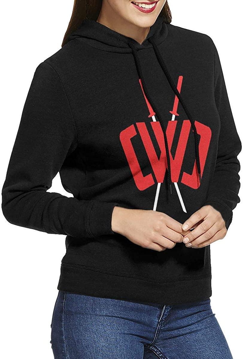 Women's Hooded Sweatshirt Pullover Chad Wild Clay Original Minimalist Style Black
