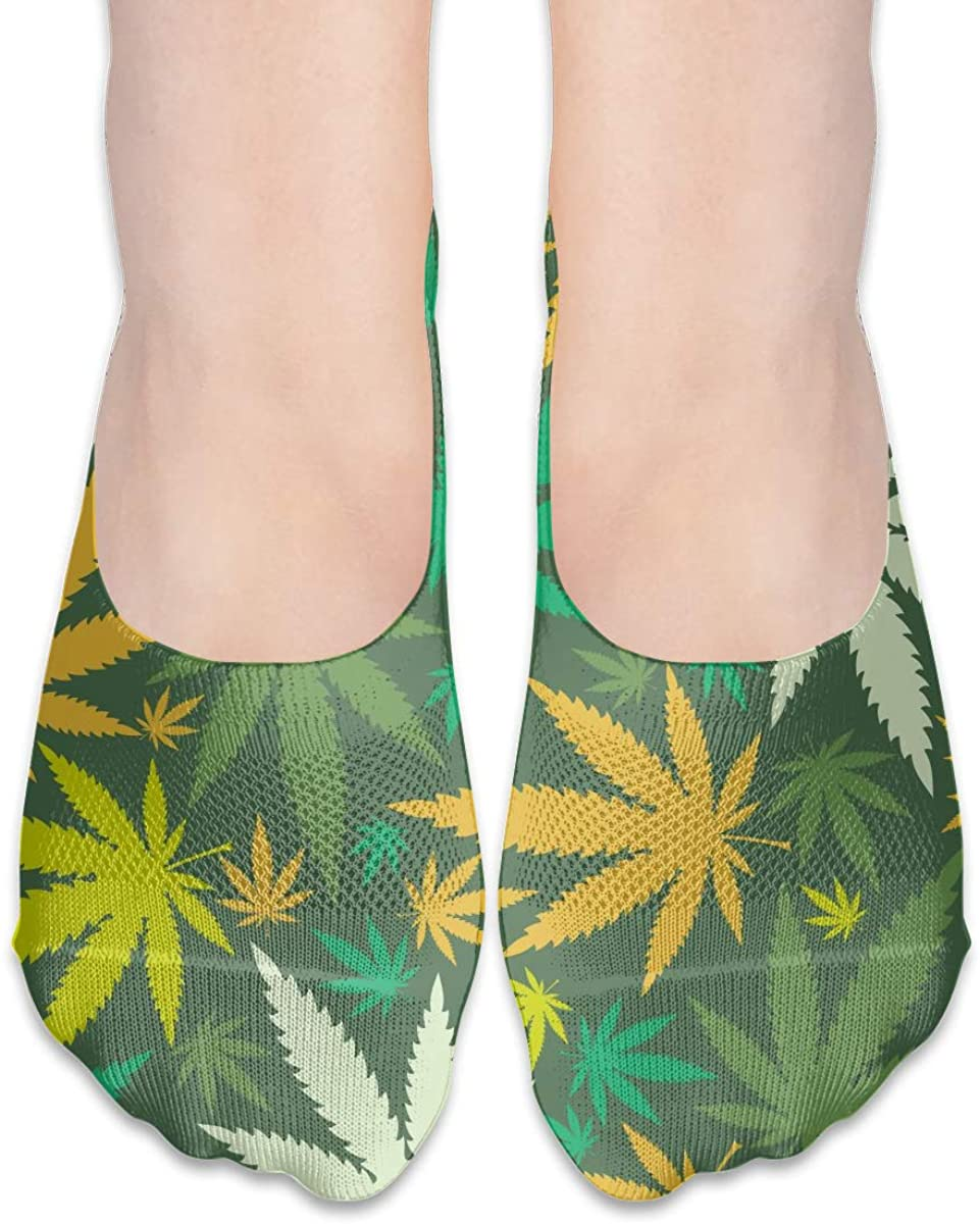 No Show Socks For Women Cannabis Leafs Low Cut Sock Liners Invisible Socks
