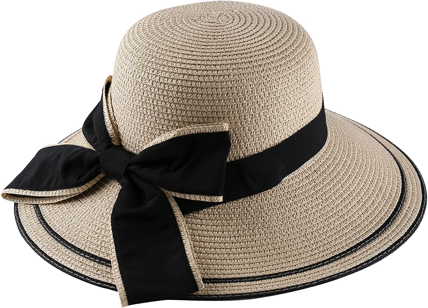 Aerusi Milan Women's Medium Size Wide Brim Sun Hat with Bow