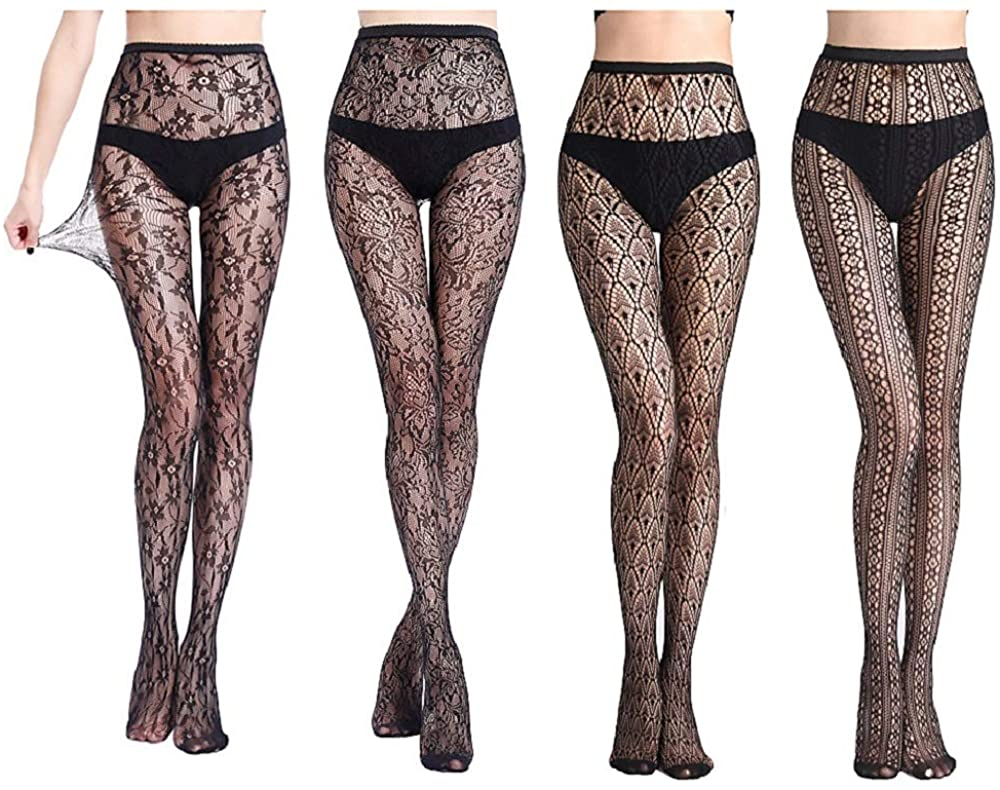 Womens Sexy Lace Patterned Tights Fishnet Floral Stockings Pattern Pantyhose 4 Pairs Thigh High Stockings For Woman
