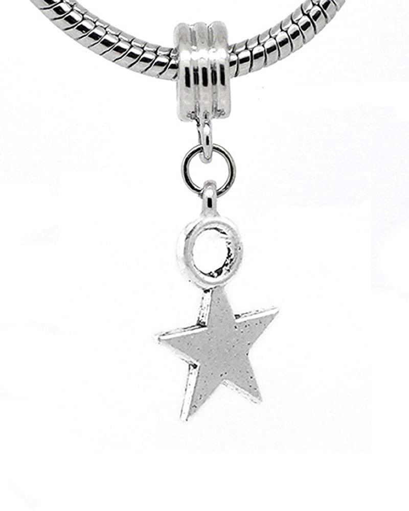 Sexy Sparkles Star Charm Spacer Dangle Bead for Snake Chain Charm Bracelet
