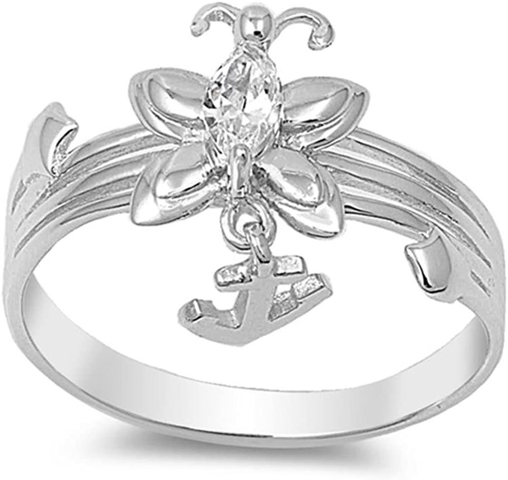 Glitzs Jewels Sterling Silver Cubic Zirconia Butterfly Ring, 2mm