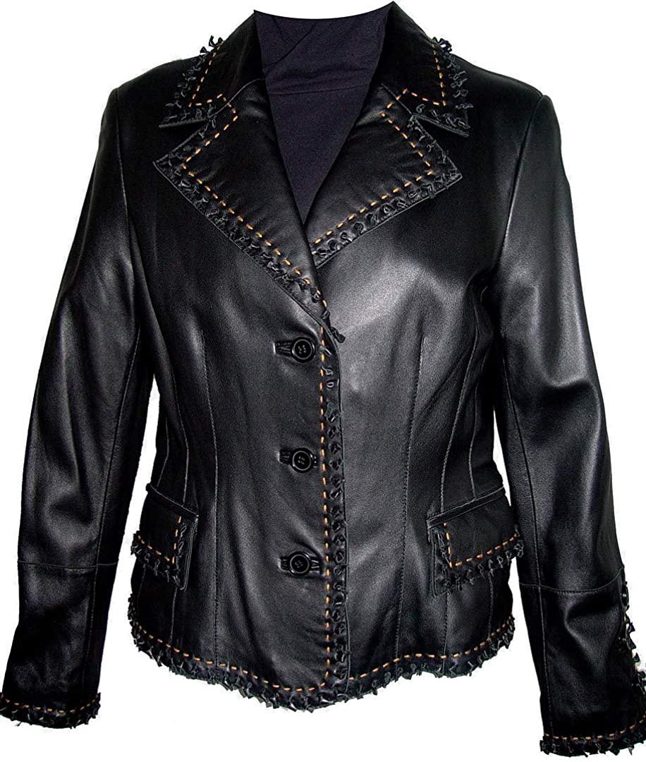 S Size 4015 Fashion Leather Blazer Jackets & Coats Womens Soft Genuine Leather Black