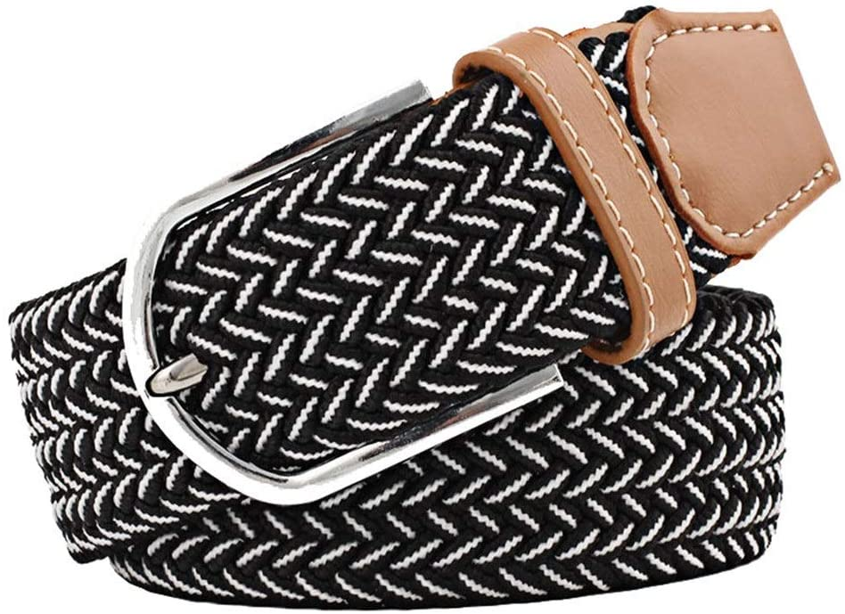 Amyannie Waist Belt Braided Stretch Belt Fabric Woven Belt Casual Weave Elastic Belt for Women Womens Belts (Color : Multi-Colored, Size : Free Size)