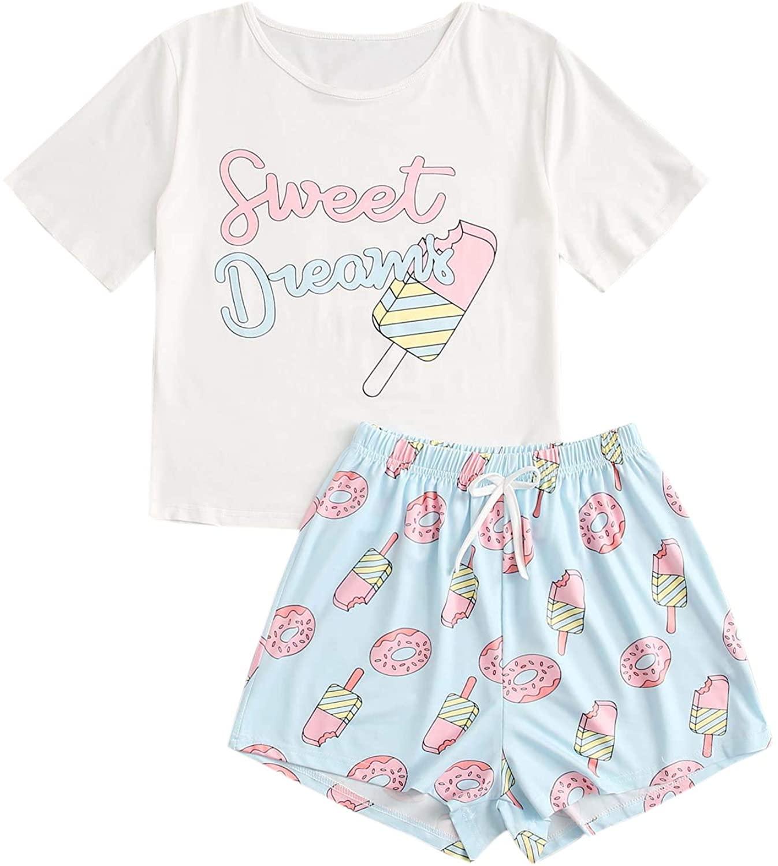 SOLY HUX Womens Letter & Cartoon Print Short Sleeve Tee with Shorts Pajama Set Sleepwear