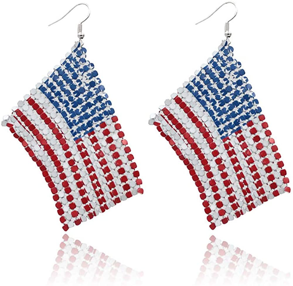 Patriotic Red White Blue American USA Flag Earrings,Flip Flop Sandal Butterfly Diamond Dangle Drop Earring,4th of July Independence Day Gift