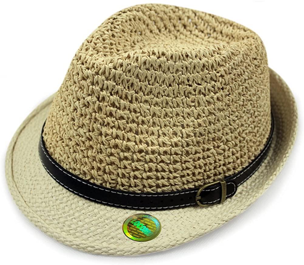 LOCOMO Straw Breathable Summer Beach Sun Shade Fedora Cuban FFH281KAK