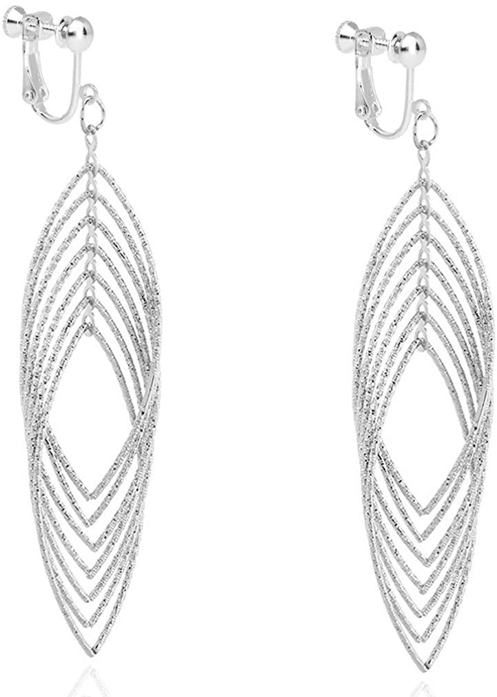 Clip on Long Dangle Earring Women Girl Fashion Jewelry Drop Diamond Cut Layered Tiered Leaf Silver Tone
