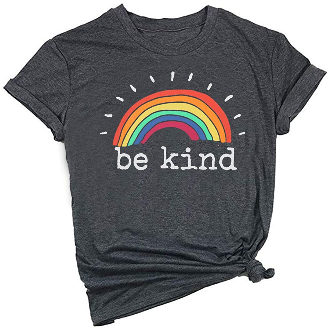 EGELEXY Be Kind T Shirt Women Rainbow Print Graphic Tees Tops Funny Inspirational Saying Casual Short Sleeve Tops Shirts