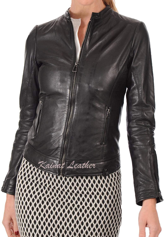 KAINAT Womens Lambskin Leather Craft Bomber Biker Jacket 89