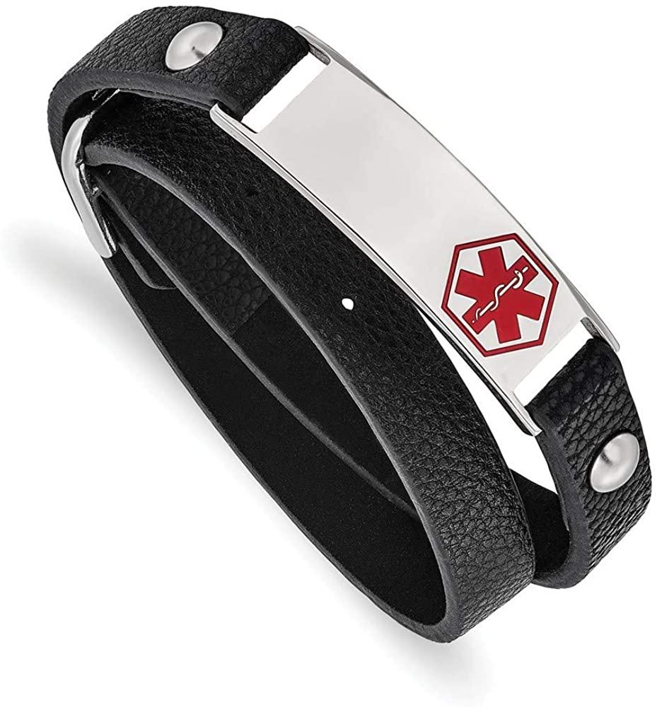 Stainless Steel Polished Enamel Leather Wrap Medical Adj Bracelet Jewelry Gifts for Women