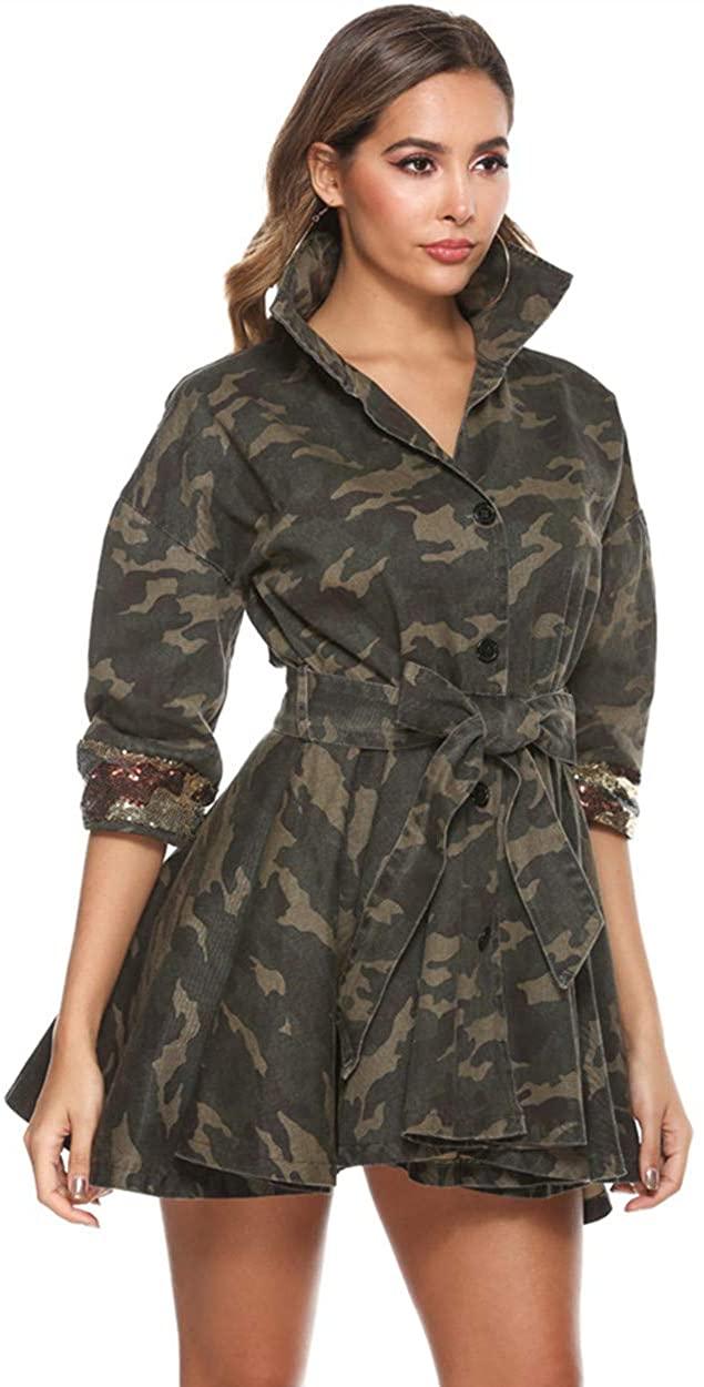 Yollmart Women's Camo Sequins Jacket Plus Size Lightweight Outwear Camouflage Coat Belt
