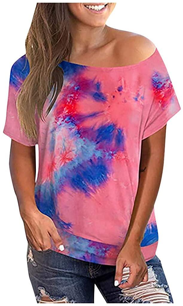 Centory Women's Casual Short Sleeve Swing Tie Dye T-Shirt Tunic Dress