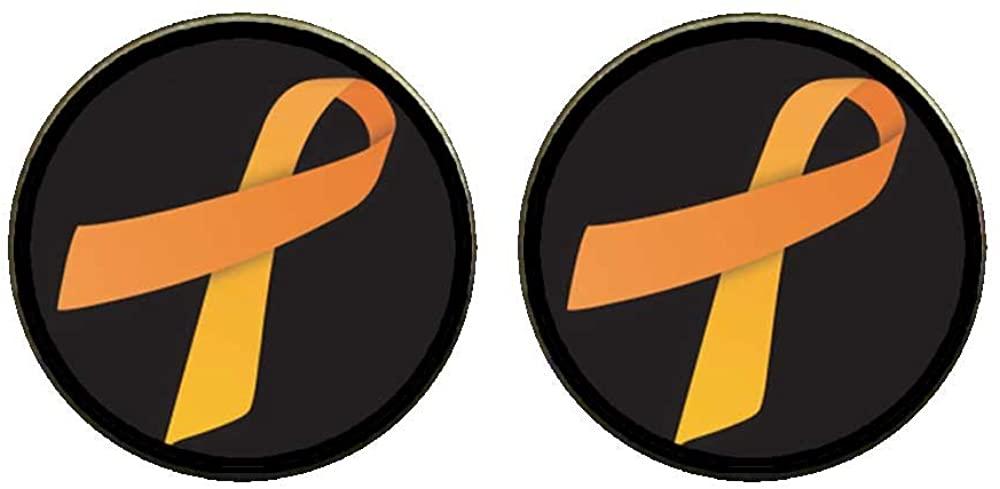 GiftJewelryShop Bronze Retro Style orange Aids Ribbon Photo Clip On Earrings 14mm Diameter