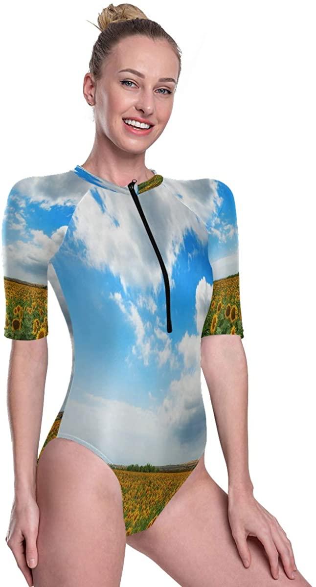 SLHFPX Zip Front Surf Rashguard Swimsuit Mind-Blowing Sunflower Field Beautiful UV Protection Swimwear Wetsuit