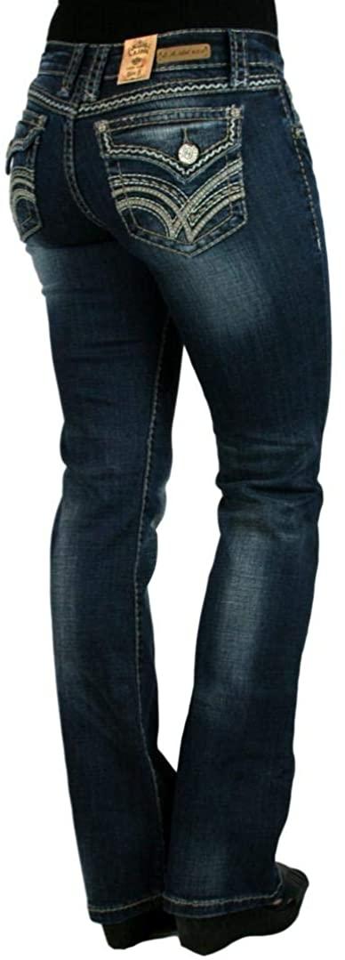 LA Idol V Wave Stitch Dark Blue Denim Bootcut Jeans
