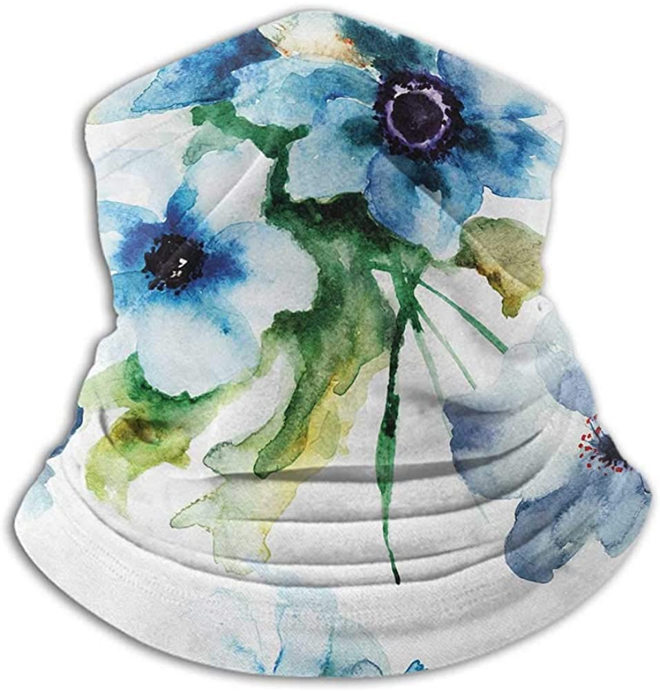Neck Gaiter Women Art Neck Gaiter Sunblock Face Scarf Summer Flowers Essence Growth Fragrance Petals Watercolor Bouquet Artistic Image Blue Forest Green