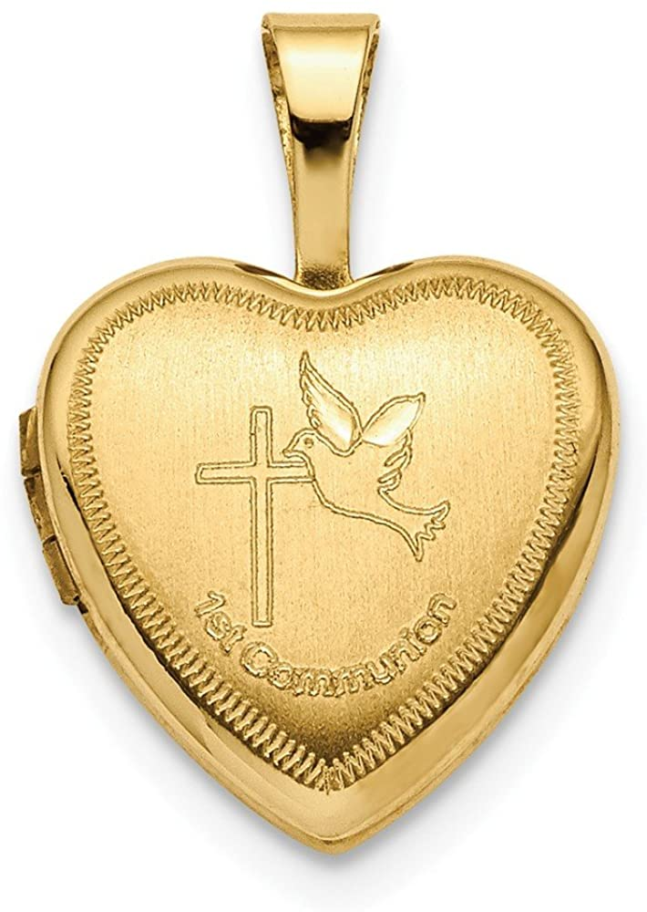 Solid 14k Yellow Gold 12mm 1st Communion Heart Locket Pendant - 12mm x 12mm