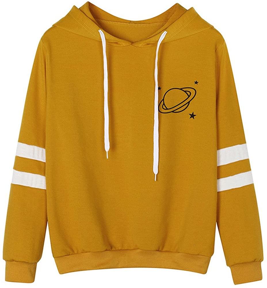 Cute Hoodies for Teen Girls Hessimy Women's Girls Casual Long Sleeve Tops Fashion Striped Plain Pullover Hooded Sweatshirt