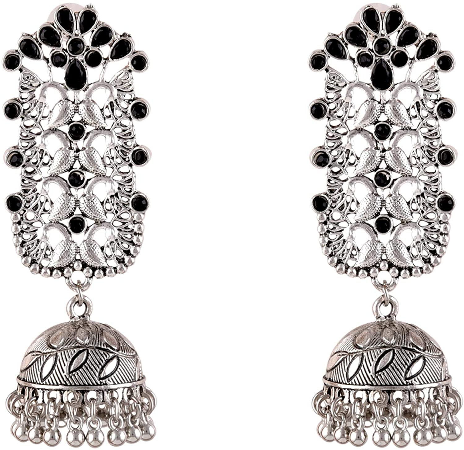 Saissa Silver Plated Oxidised Metal Peacock Jhumka Boho Earrings Indian Jewelry for Women