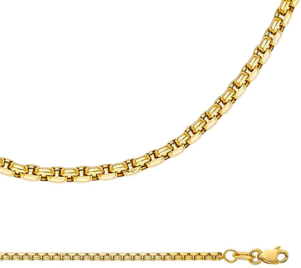 ZenJewels Solid 14k Yellow Gold Necklace Box Chain Round Link Diamond Cut Hollow Polished Light 1.8 mm 16,18,20,22,24 inch
