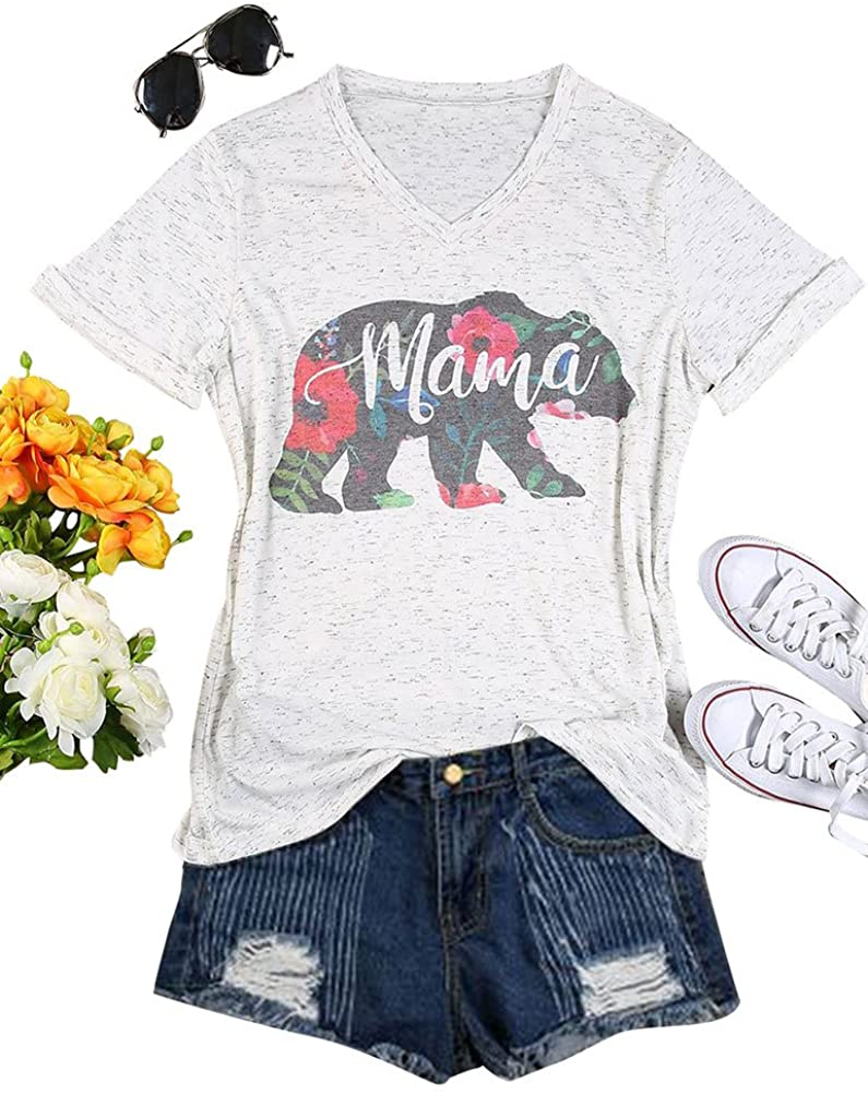 StarVnc Mom's T-Shirts Sweatshirts Cute Letter Print Mama Summer Colorful V Neck Tshirts for Mom's Gift