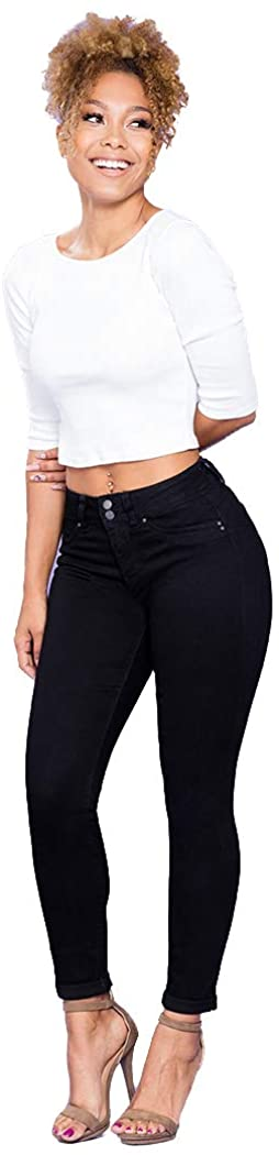 YMI Women's Junior Wannabettabutt 2 Button Mid-Rise Cuffed Anklet Jeans with Front Faux Pockets