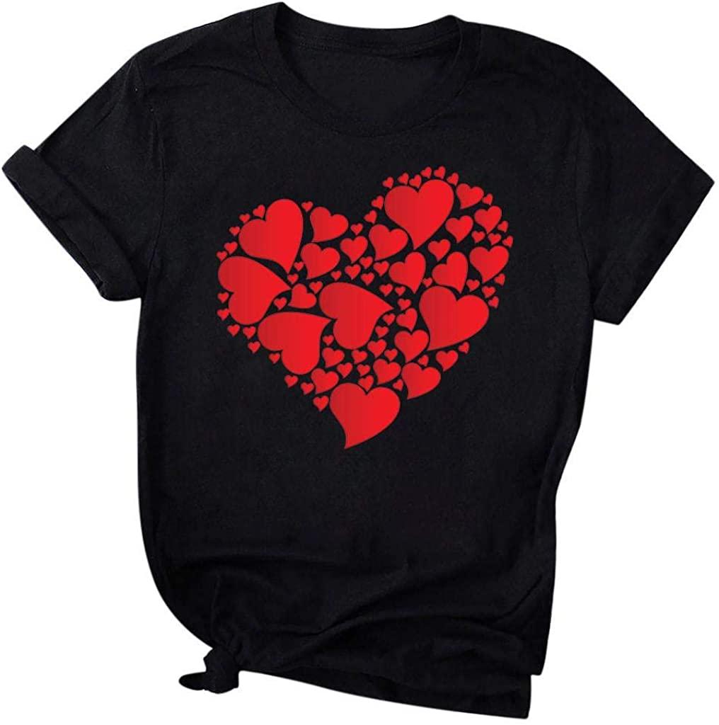 terbklf Valentines Gift for Her Women's Valentine Shirt Round Neck Short Sleeve Heart Print Short Tee T-Shirt Plus Size