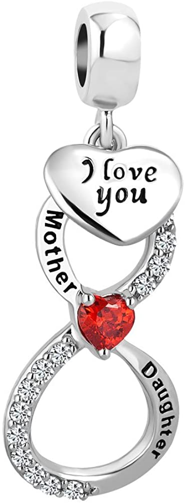 Charmed Craft Red Heart Infinity Love Charms Mother Daughter Charms Mom I Love You Charm Beads for Bracelets