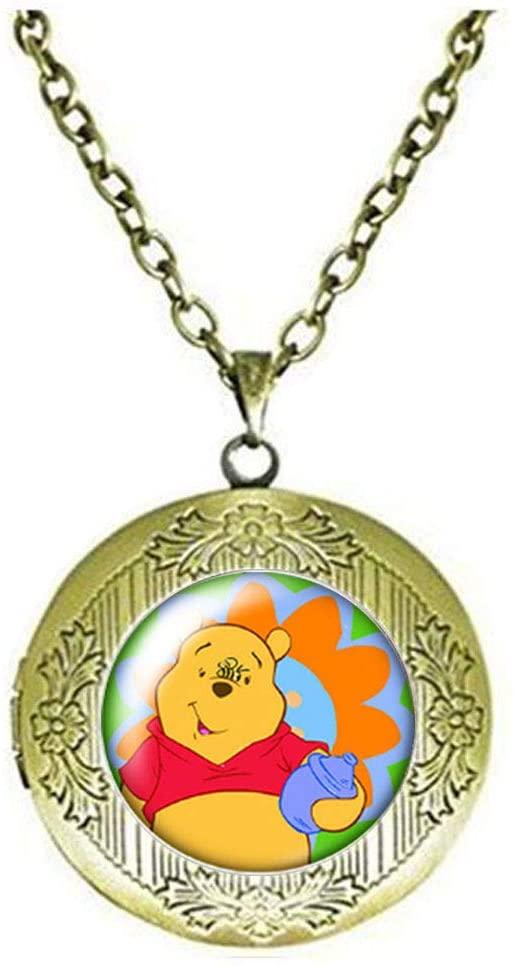 Beautiful Cute Bear Locket Necklace Glass Art Photo Jewelry Birthday Festival Gift Beautiful Gift