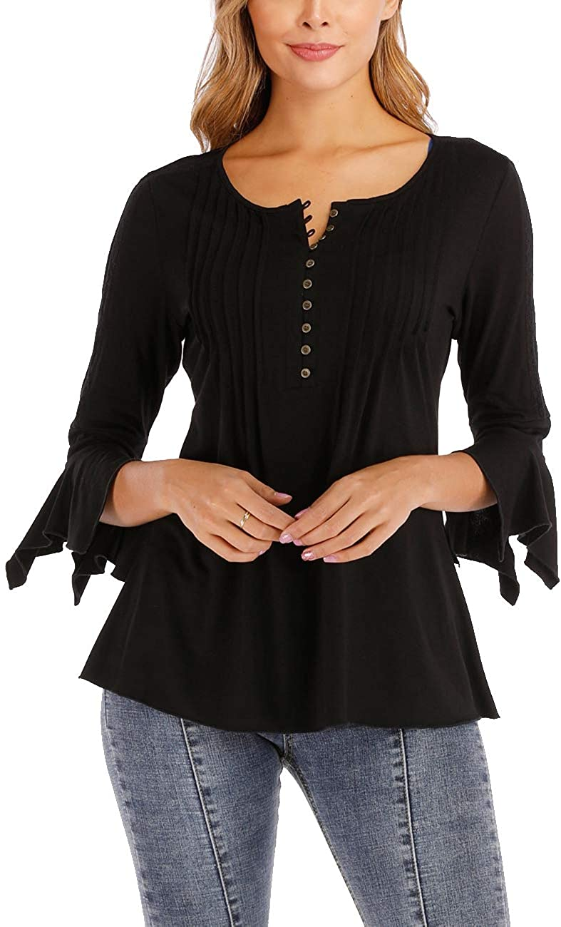 Tops for Women Henley Lace Shirts for Inset 3/4 Bell Sleeve Button Decor Pleated Casual Shirt