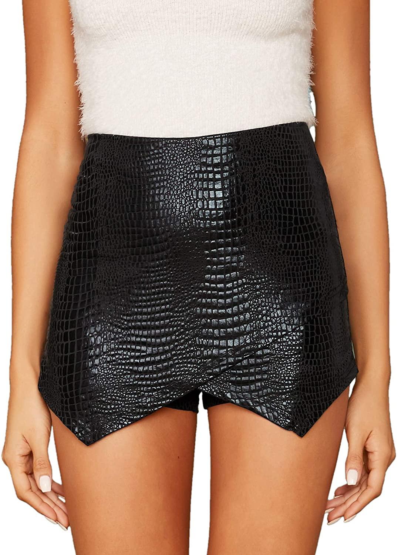 Floerns Women's Crocodile Print Mid Waist Zip Up Wrap Skort Shorts