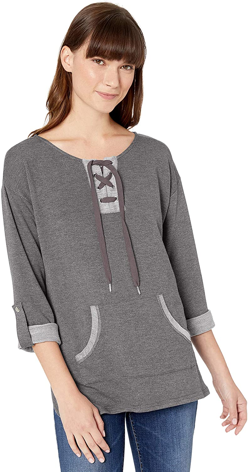 Ruby Rd. Women's Split-nk W/Lacing Detail Heather Terry Pullover W/Pouch Pkt, 3/4 Roll-tab SLVS