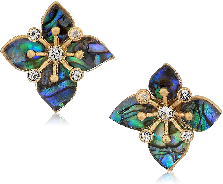 Lonna & Lilly Women's Flower Stud Earrings, Abalone