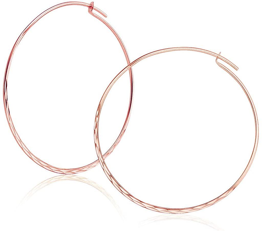 Big Apple Hoops - High Polished Diamond Cut Sterling Silver Size 20-50mm Plain Hoop Earrings Made from Real 925 Sterling Silver in Rose Gold Polished Modern Fashion Gift for Men, Teens, Women